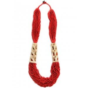 Mittelalter Perlenkette Weatreis rot aus Horn-Resin in Rot Seitenansicht