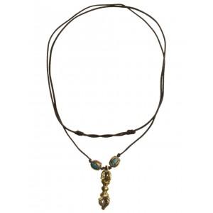 Wikinger Halskette Karke mit Talisman Dorje aus Messing in Goldgelb Frontansicht